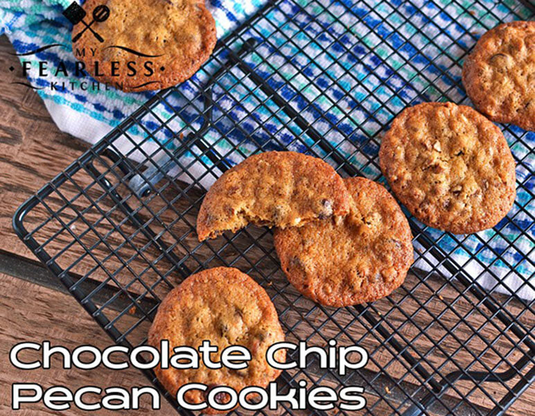 Chocolate Chip Pecan Cookies on a cooling rack