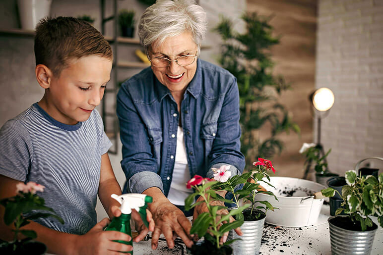 Grandma and grandson planting flowers