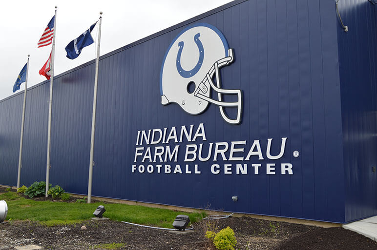The blue front of the Indiana Farm Bureau Football Center for the Indianapolis Colts