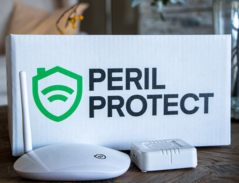 Peril Protect box and sensor with logo